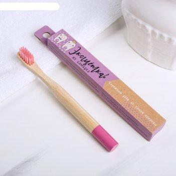 Зубная щётка детская, бамбук «сиреневая», 15 x 2 x 1,5 см