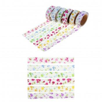 Клейкая лента декоративная текстиль нежные цветы микс