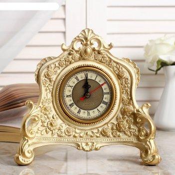 Часы настольные каминные, цвет  белый с позолотой, 21х19х6.5 см