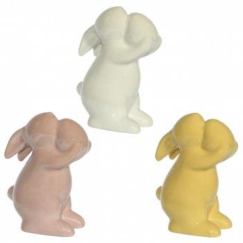 Фигурка декоративная заяц, l7 w5 h10 см, 3в.