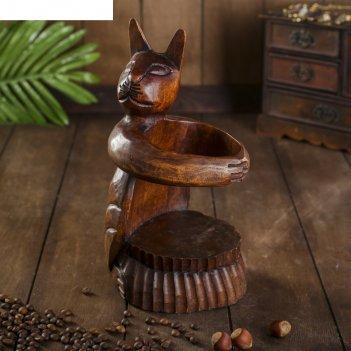 Подставка под бутылку дерево кошка 12х10х25 см микс