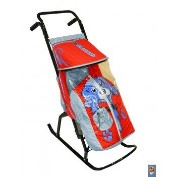 Санки-коляска снегурочка 2-р собачка серый-красный