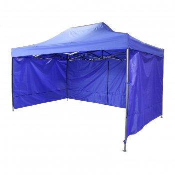 Палатка торговая 400*300 см, каркас складной черный, с молнией, цвет микс