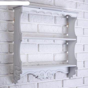 Полка навесная прованс, трёхъярусная, белая, 49x13x49 см