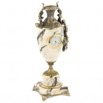 Ваза с часами виноград мрамор змеевик бронза 135х120х360 мм 4550 гр.