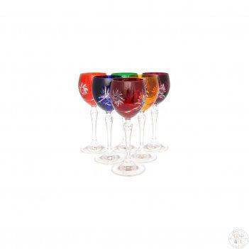 Набор бокалов для вина цветной хрусталь 150мл(6 шт)