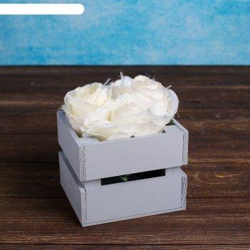 Ящик-кашпо двушка, сердний, серое, 11х12х9см