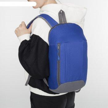 Рюкзак молодёжный, отдел на молнии, 2 наружных кармана, цвет синий/серый