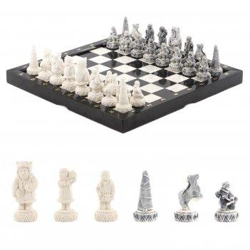 Шахматы северные народы бронза мрамор 365х365 мм