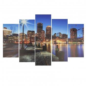 Часы настенные модульные «вечерний город», 80 x 140 см