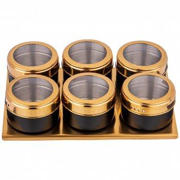 Набор для специй agness 7 пр. черное золото на магнитах+метал. подставка 2