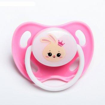 Пустышка силикон ортодонтическая зайка полли цвет розовый