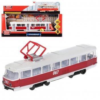 Машина металлическая, инерционная «трамвай» 18 см, световые и звуковые эфф