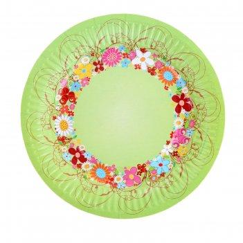 Тарелка с ламинацией цветочный венок 18 см