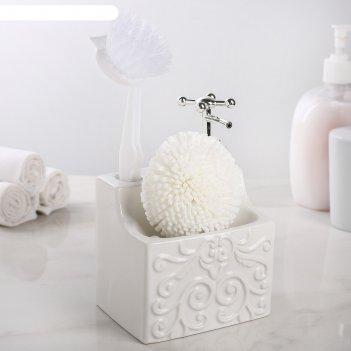 Дозатор для жидкого мыла с подставкой для губки и щетки камелия, цвет белы
