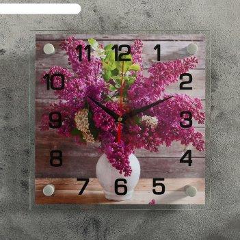 Часы настенные, серия: цветы, сирень в белой вазе, 25х25  см, микс