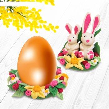 Подставка для яиц из полимерной глины, набор для создания зайчики