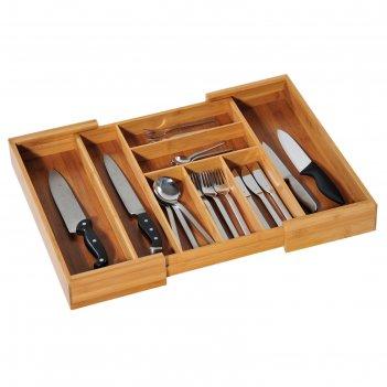 Подставка для столовых приборов, раздвижная 35-58х43х6 см., бамбук, 5808-5