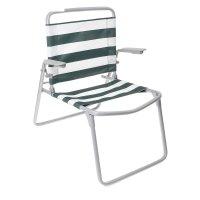 Кресло-шезлонг складное  ткань пвх  цвет зелено-белый  к1