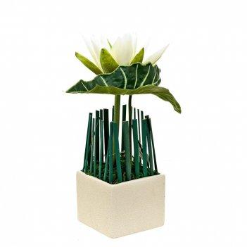 Композиция декоративная (с подсветкой) белая лилия (с эффектом