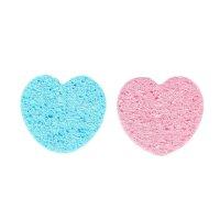 Спонж-губка для умывания сердце 2 шт, цвета микс