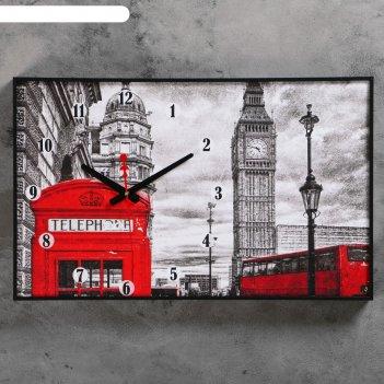 Часы настенные, серия: город, биг бен и телефонная будка, 37х60 см