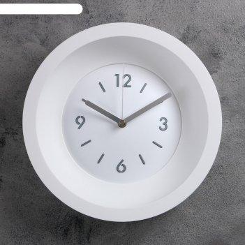 Часы настенные классика, d=25.4, ход плавный, без стекла, белые