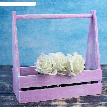 Ящик двухреечный с ручкой, фиолетовая кисть, 30x14x30 см