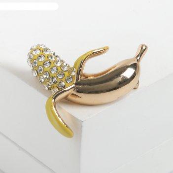 Брошь банан, цвет жёлто-белый в золоте