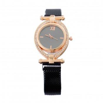 Часы наручные женские пэрис, d=2.5 см, чёрные