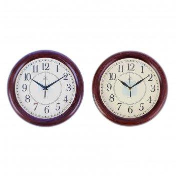 Часы настенные круглые классика глянец, 30х30см, деревянный обод, микс