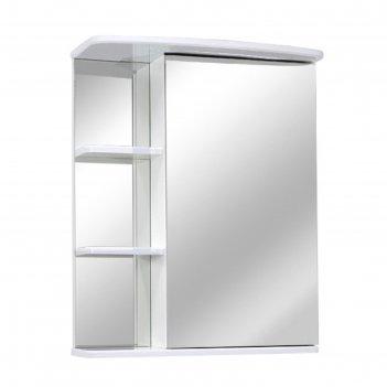 Шкаф-зеркало троя 56 левое, цвет: белый глянец