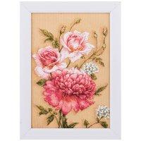 Гобеленовая картина бутоны розы и пион 27*20 см