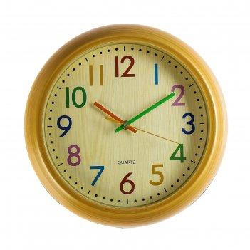 Часы настенные, серия: классика, радуга, d=30 см, под дерево