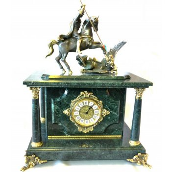 Часы-сейф георгий-победоносец из зеленого мрамора
