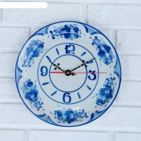 Часы настенные тарелка, гжель, фарфор, 2с