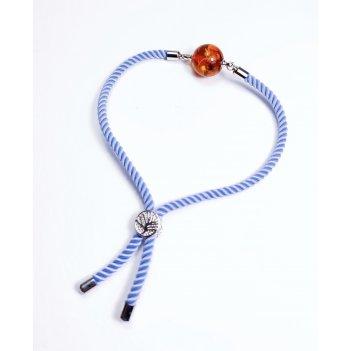 Изящный браслет со вставкой из натурального янтаря