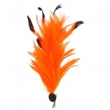 Карнавальный зажим (значок) перо, цвет оранжевый