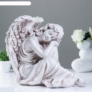 Фигура ангел девушка сидя большая, состаренный 28х48х37см