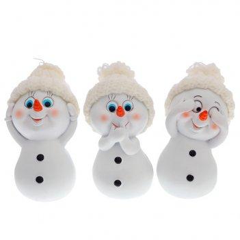 Фигурка декоративная снеговик, l5,3 w 4,5 h8,5см, 3в