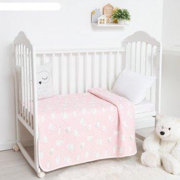 Одеяло стёганое крошка я «мишка» 100х110 см, цвет розовый