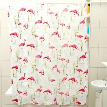 Штора для ванной 180x180 см фламинго, eva