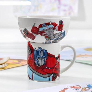 Набор посуды детский transformers «оптимус прайм», 2 предмета: кружка 200