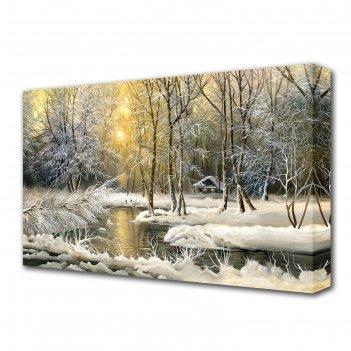 Картина на холсте зимой в лесу
