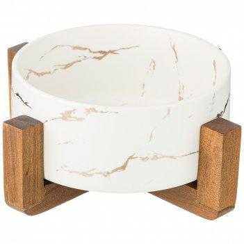 Салатник на  деревянной подставке  коллекция золотой мрамор цвет: white 20