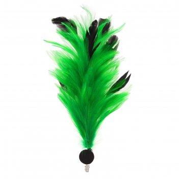 Карнавальный зажим (значок) перо, цвет зеленый