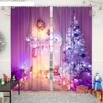 Фотошторы «новогодняя коллекция 100», размер 150 x 260 см-2 шт, габардин