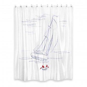 Штора из ткани для ванной комнаты 200х200 см maritime blue