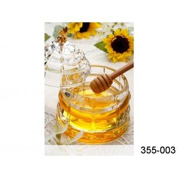 Банка для меда с деревянной палочкой диа=10,5 см. в=14 см. коллекция muza