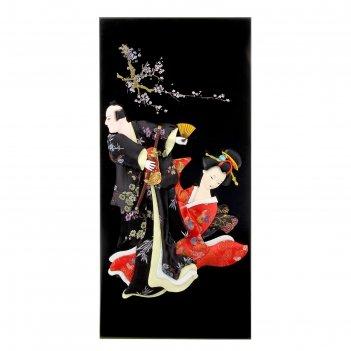 Панно интерьерное самурай и гейша на черном